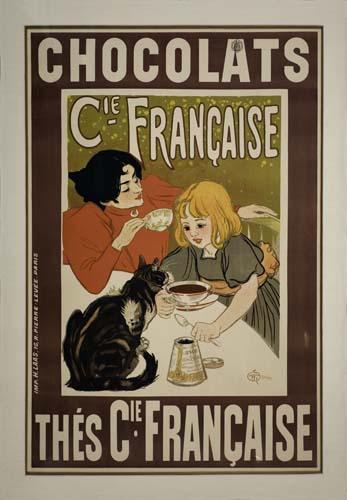 THÉOPHILE-ALEXANDRE STEINLEN (1859-1923) CHOCOLATS / THÉS CIE. FRANÇAIS, 1895. 45x30 inches. H. Laas, Paris.