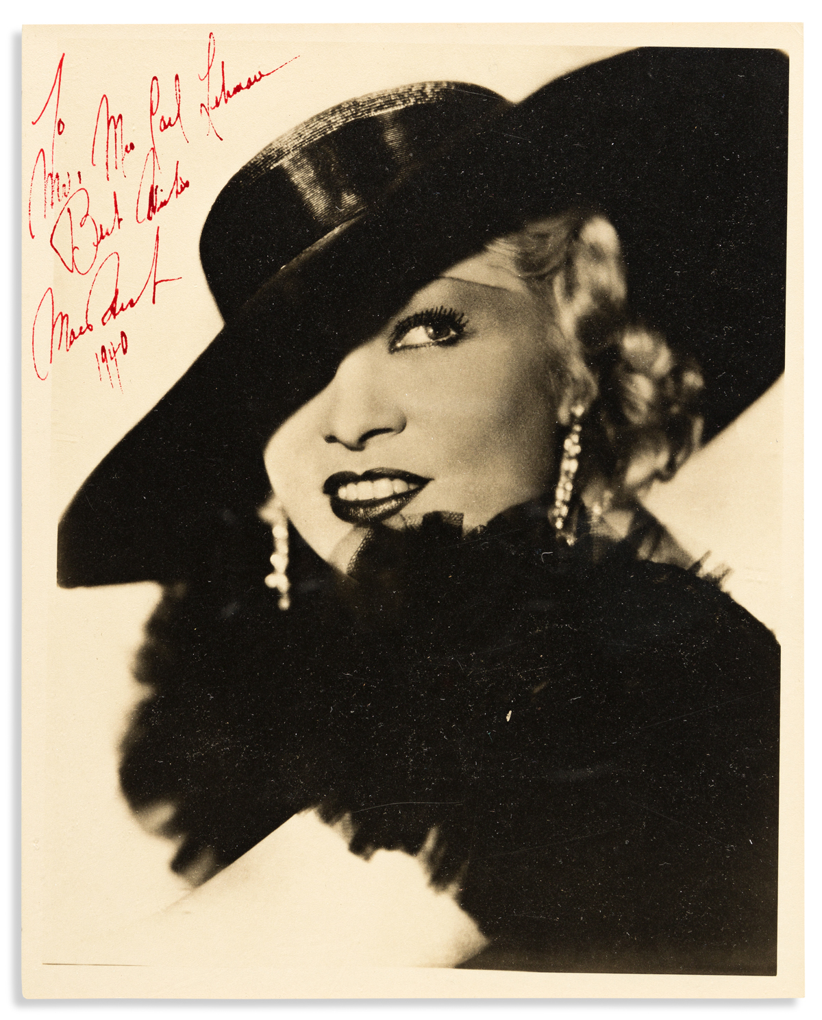 WEST, MAE. Photograph Signed and Inscribed, To / Mr, Mrs Paul Lehman / Best Wishes,