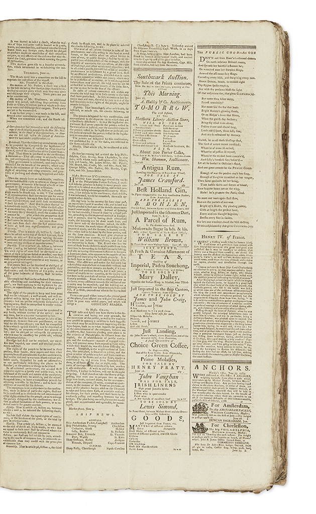 (PENNSYLVANIA.) Bound volume of the Pennsylvania Packet and Daily Advertiser for 1789.