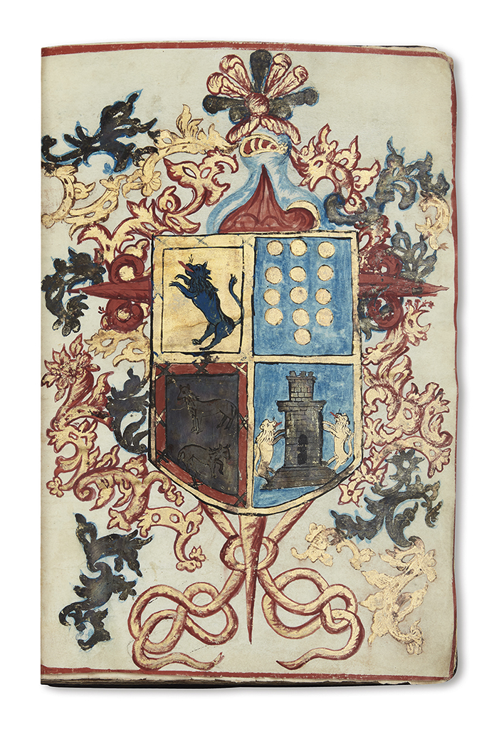 (MEXICO.) Manuscript confirmation of arms and nobility in favor of the Berdugo, Davila, Haro and Torre families.