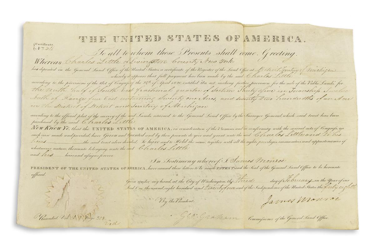MONROE-JAMES-Two-Partly-printed-vellum-Documents-Signed-as-P