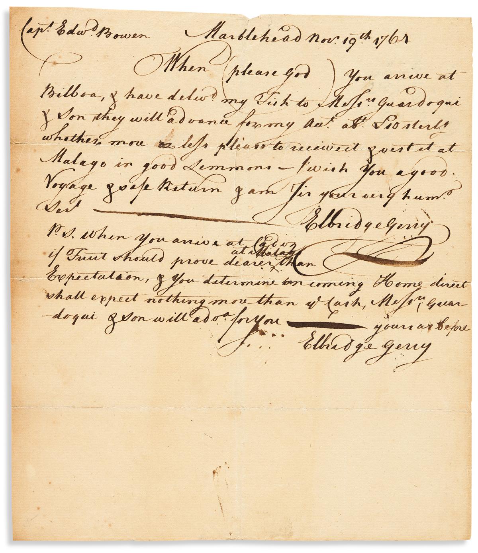 GERRY, ELBRIDGE. Autograph Letter Signed, twice, to Capt Edwd Bowen,