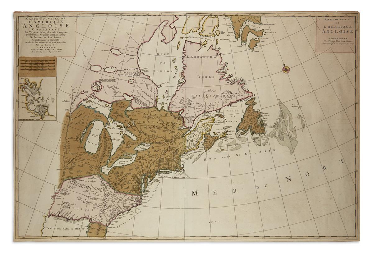 MORTIER, PIERRE. Carte Nouvelle de lAmerique Angloise Contenant la Virginie, Mary-Land, Caroline, Pensylvania,