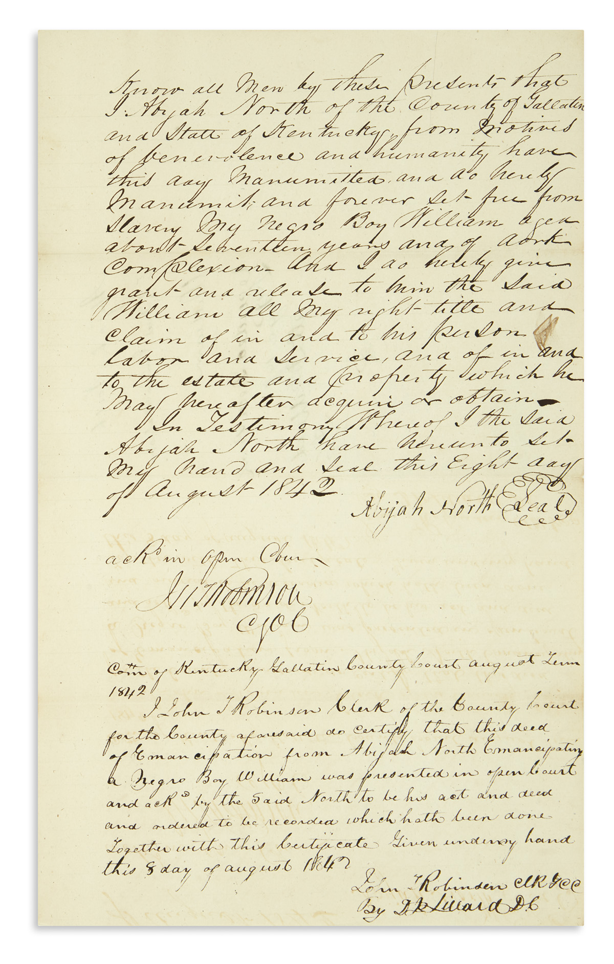 (SLAVERY-AND-ABOLITION)-Pair-of-Kentucky-manumissions-by-the