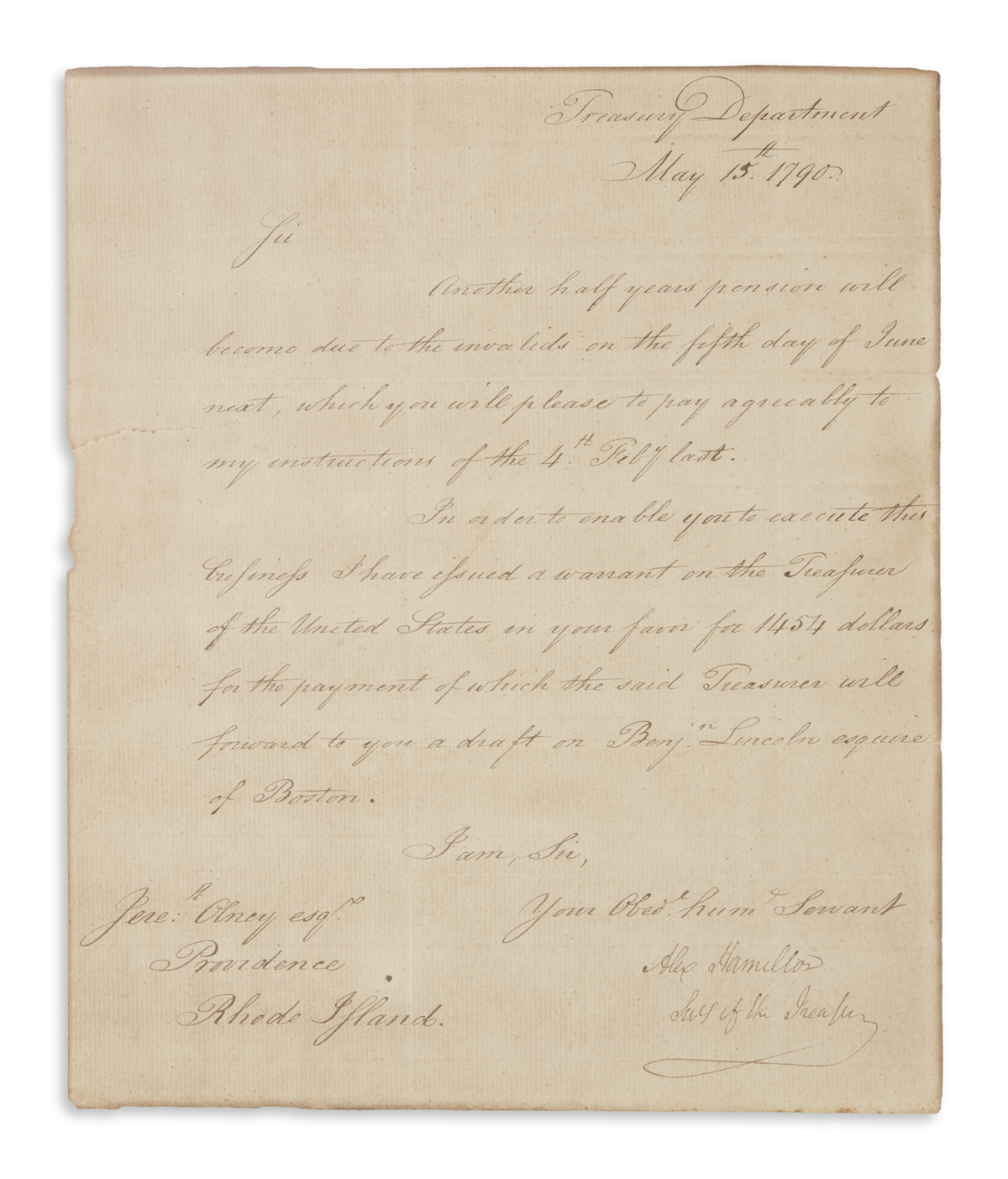 HAMILTON, ALEXANDER. Letter Signed, twice (Alex Hamilton / Secty of the Treasury and AHamilton on address panel), to Customs Colle