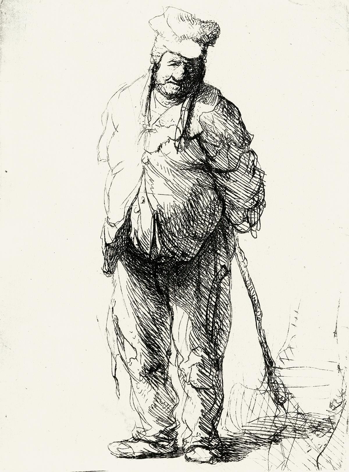 REMBRANDT-VAN-RIJN-A-Ragged-Peasant-with-his-Hands-Behind-Hi
