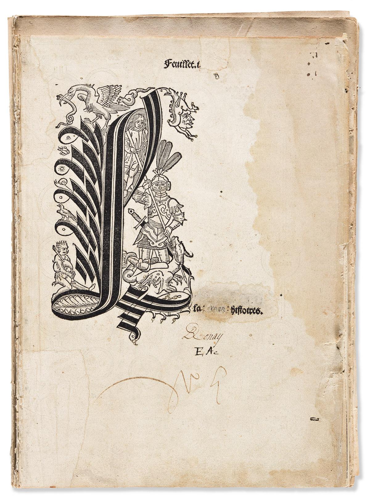 Illustrated Incunabula Fragment. Mer des Histoires.