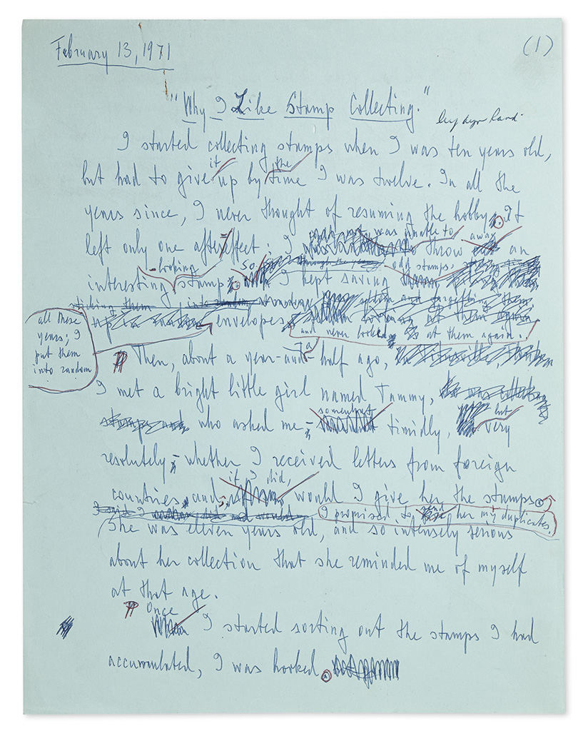 RAND, AYN. Autograph Manuscript, unsigned, draft of her article entitled Why I Like Stamp Collecting,