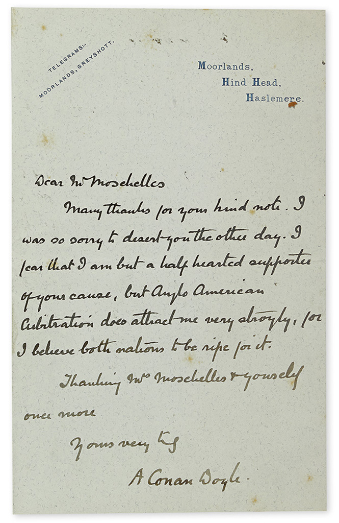 DOYLE, ARTHUR CONAN. Group of 4 Autograph Letters Signed, A Conan Doyle, to various recipients, on various subjects.