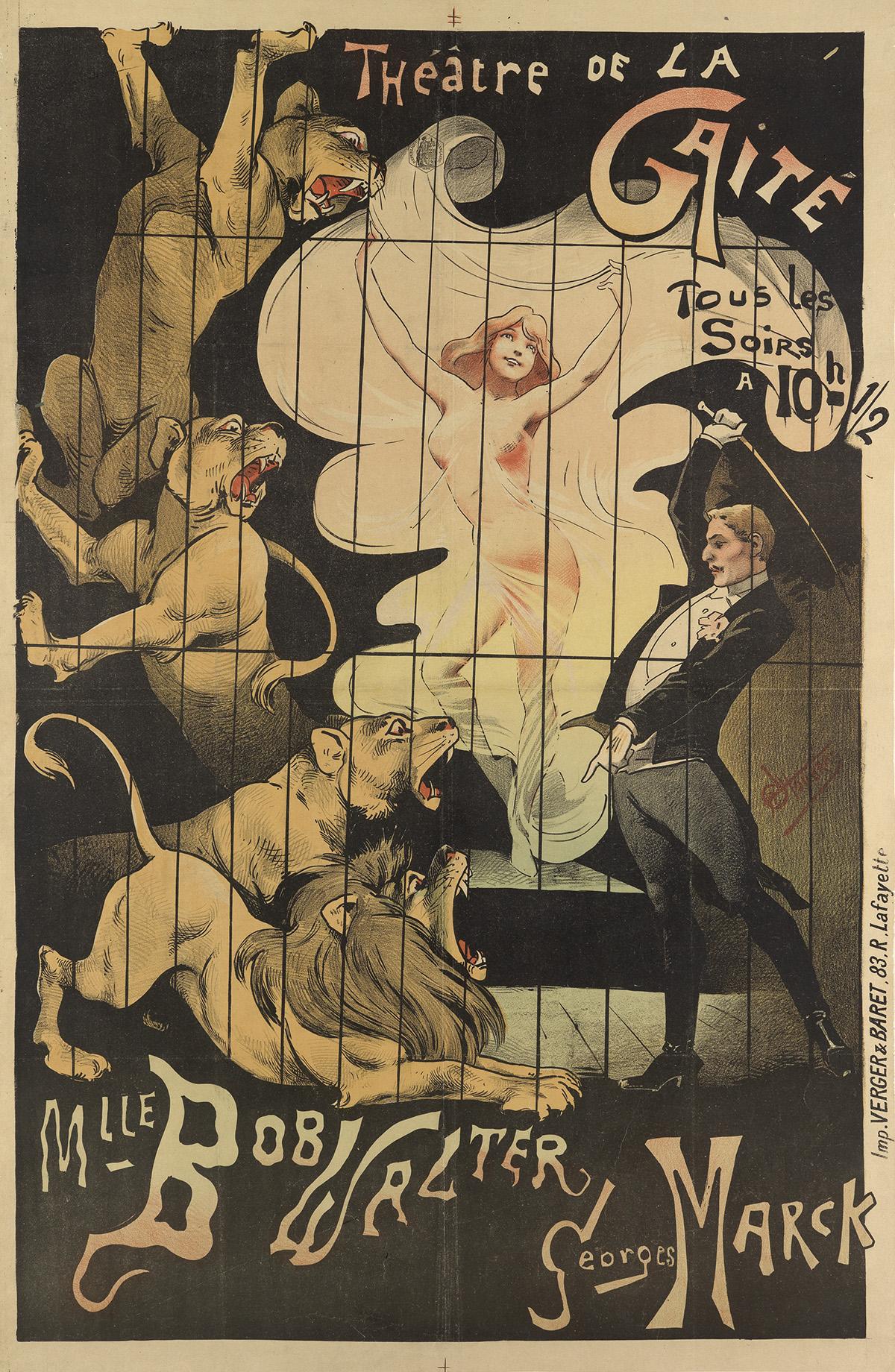 ALFRED CHOUBRAC (1853-1902). THÉÂTRE DE LA GAITÉ. 1895. 45x29 inches, 115x78 cm. Verger & Baret, Paris.