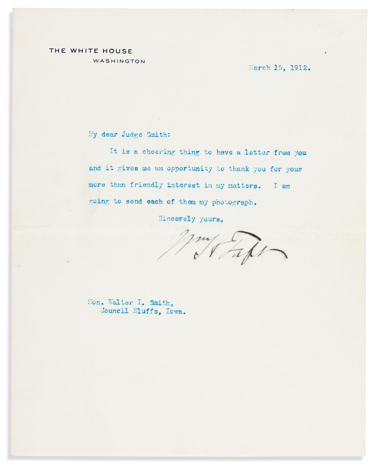 TAFT, WILLIAM HOWARD. Brief Typed Letter Signed, WmHTaft, as President,