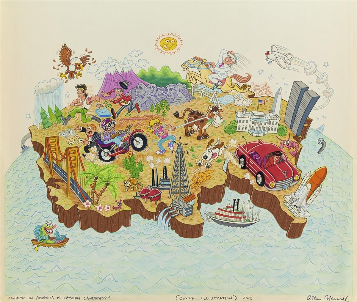 ALLAN NEUWIRTH. Where in America is Carmen Sandiego? [CHILDRENS / USA / MAP]