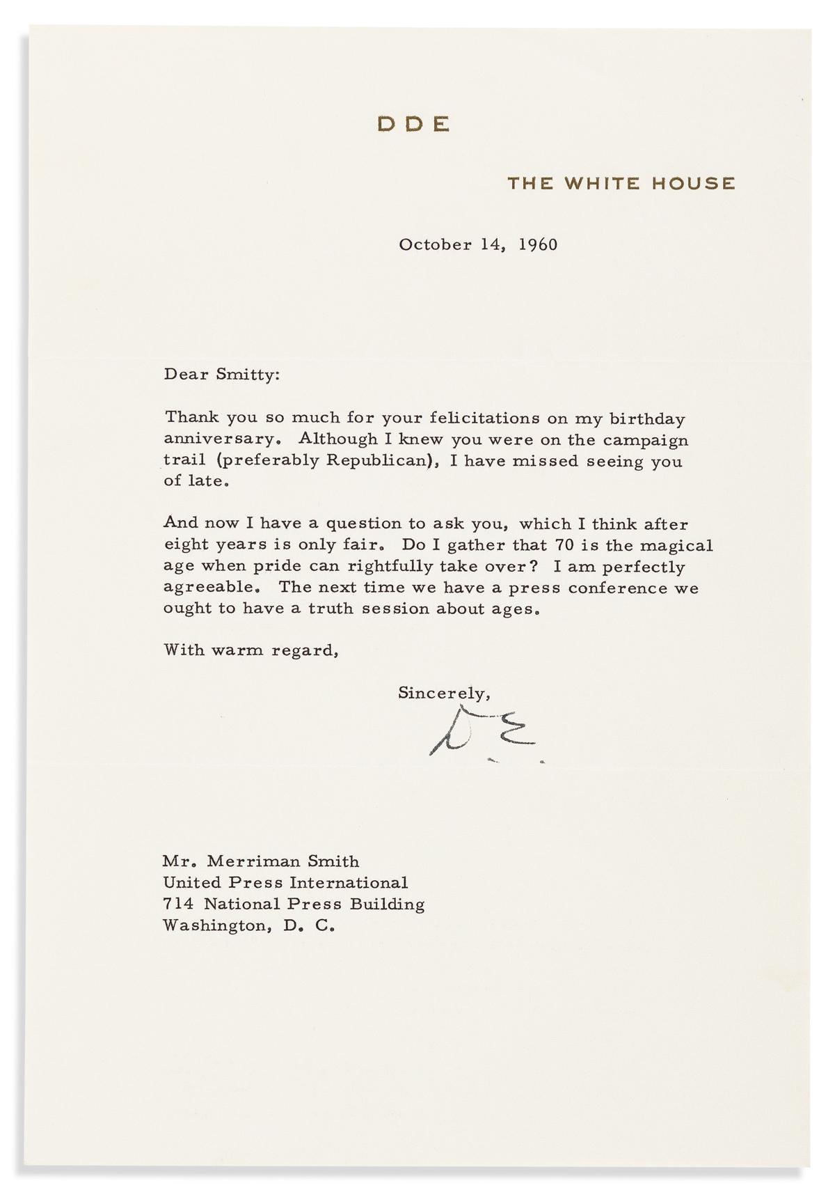 EISENHOWER, DWIGHT D. Typed Letter Signed, D.E., as President, to White House correspondent for UPI Merriman Smith (Dear Smitty),