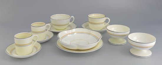(CUNARD LINE.) Queen Mary. Group of 59 pieces of table china by Foley;