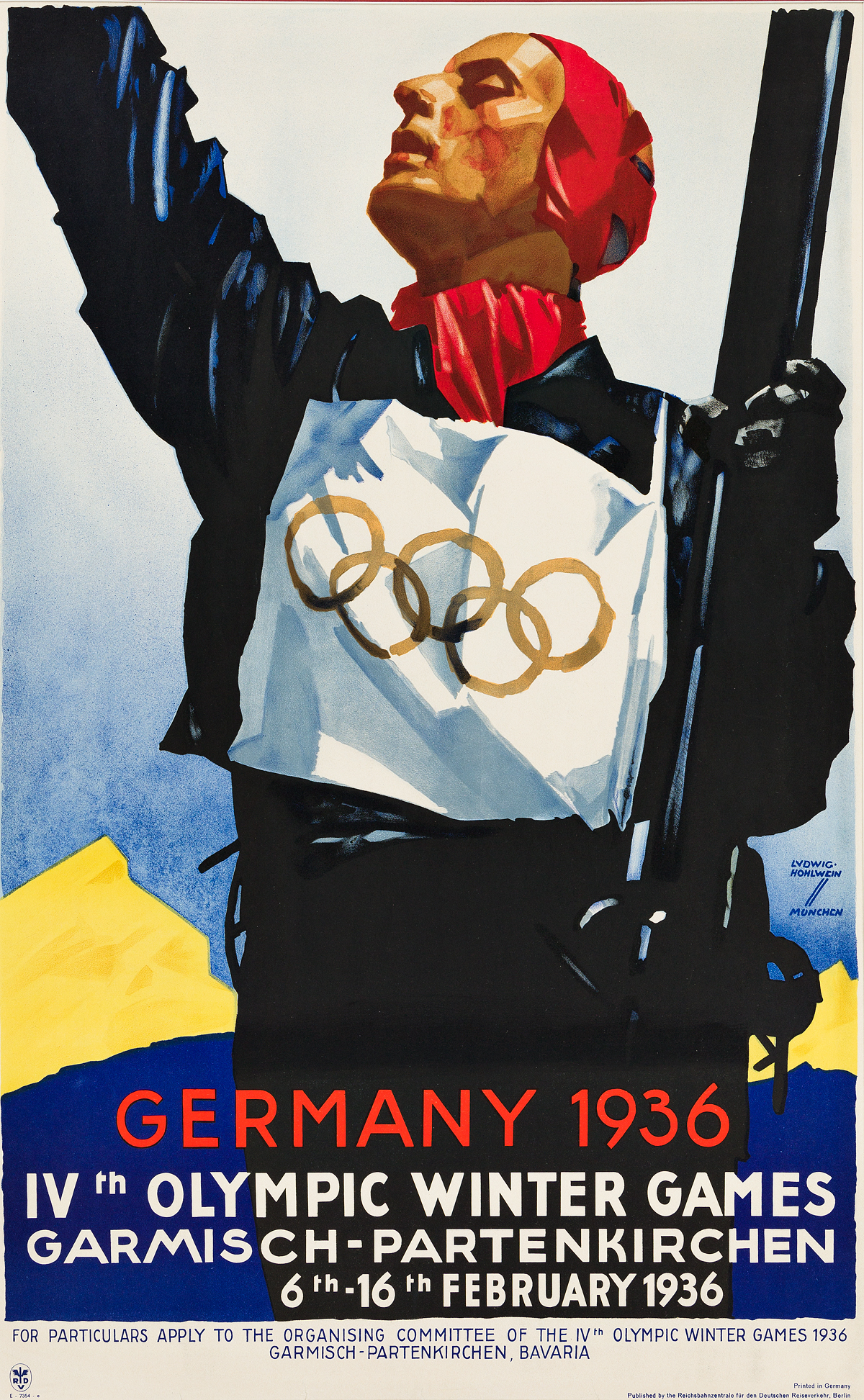 LUDWIG HOHLWEIN (1874-1949). GERMANY 1936 / IVTH OLYMPIC WINTER GAMES. 1936. 39x24 inches, 99x61 cm. Reichsbahnzentrale für den Deutsch