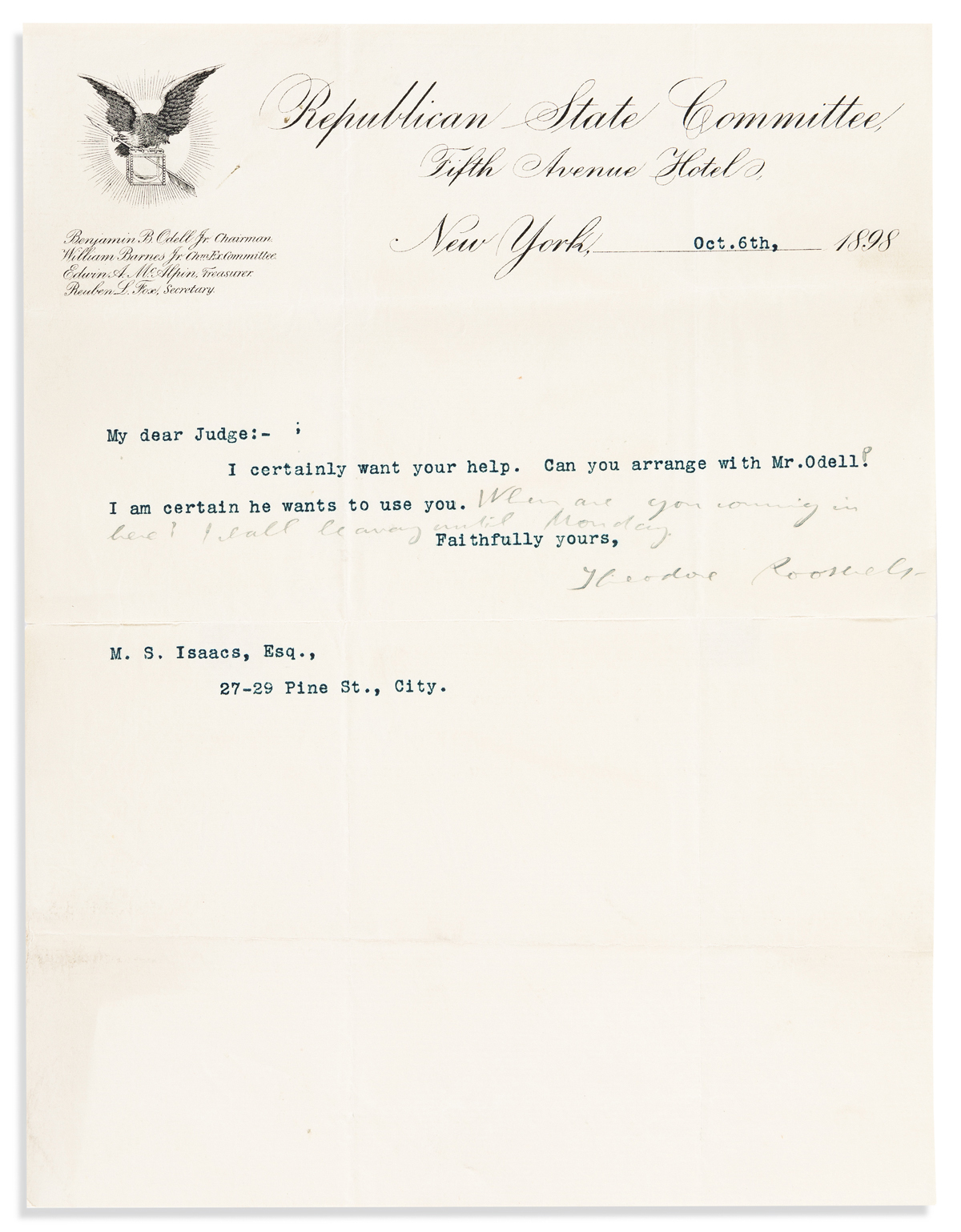 ROOSEVELT, THEODORE. Typed Letter Signed, to Judge Myer Samuel Isaacs,