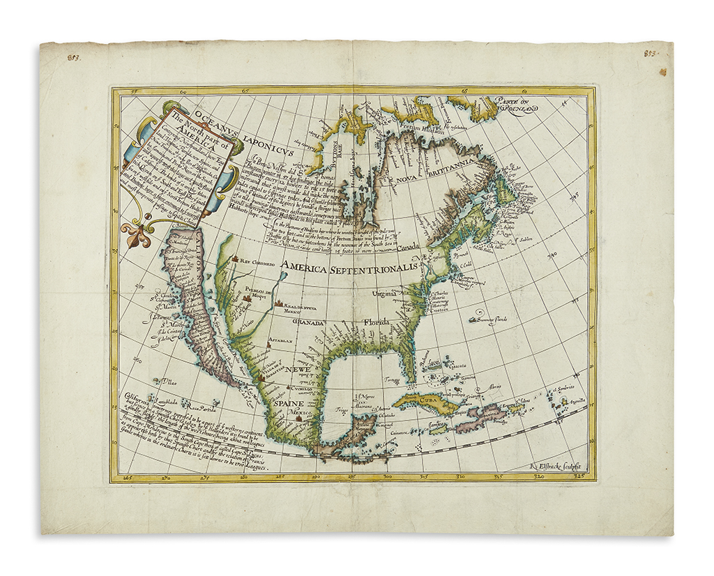 BRIGGS, HENRY. The North part of America Conteyning Newfoundland, New England, Virginia, Florida, New Spaine, and Noua Francia…