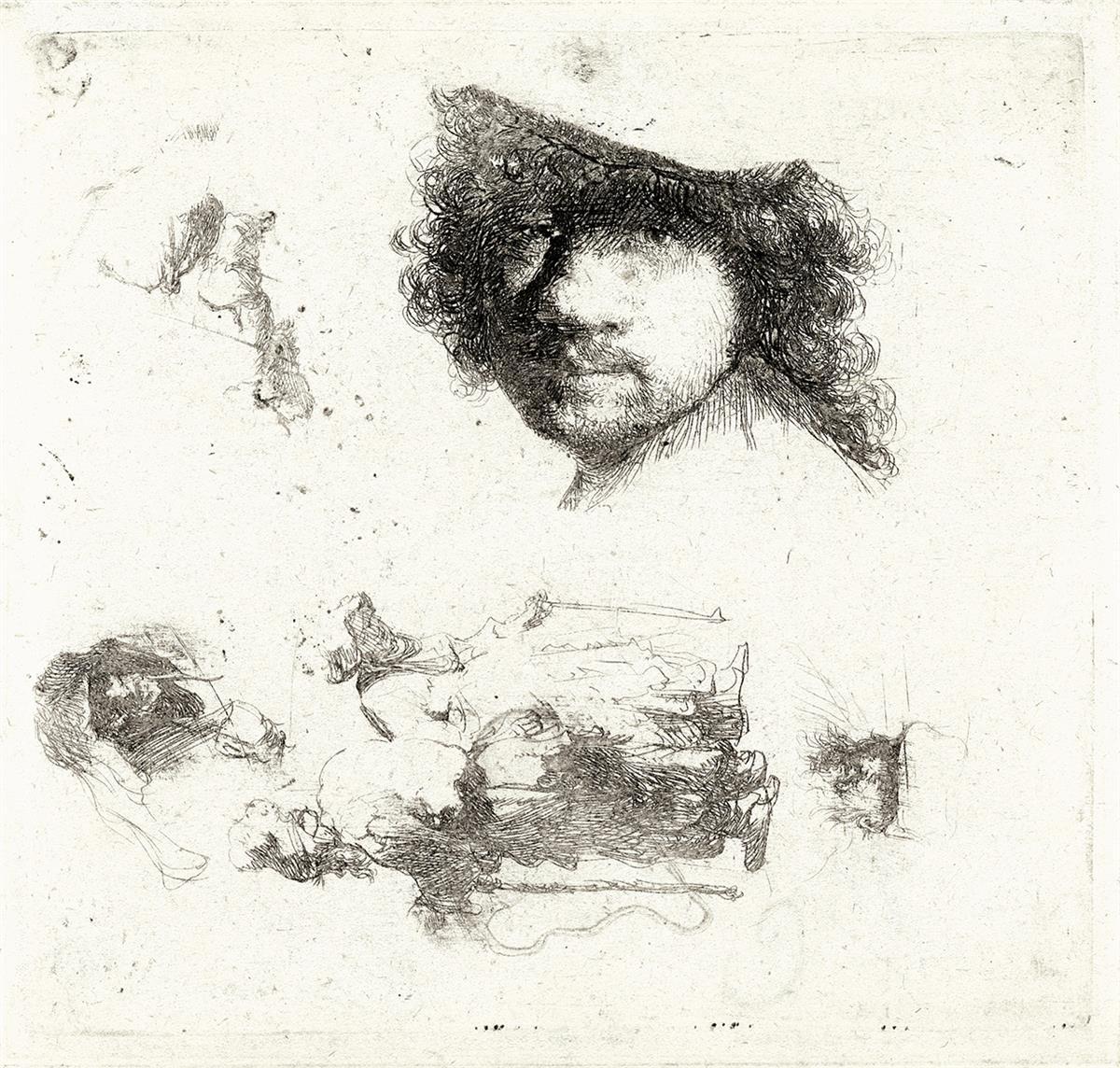 REMBRANDT-VAN-RIJN-Sheet-of-Studies-Head-of-the-Artist-A-Beg
