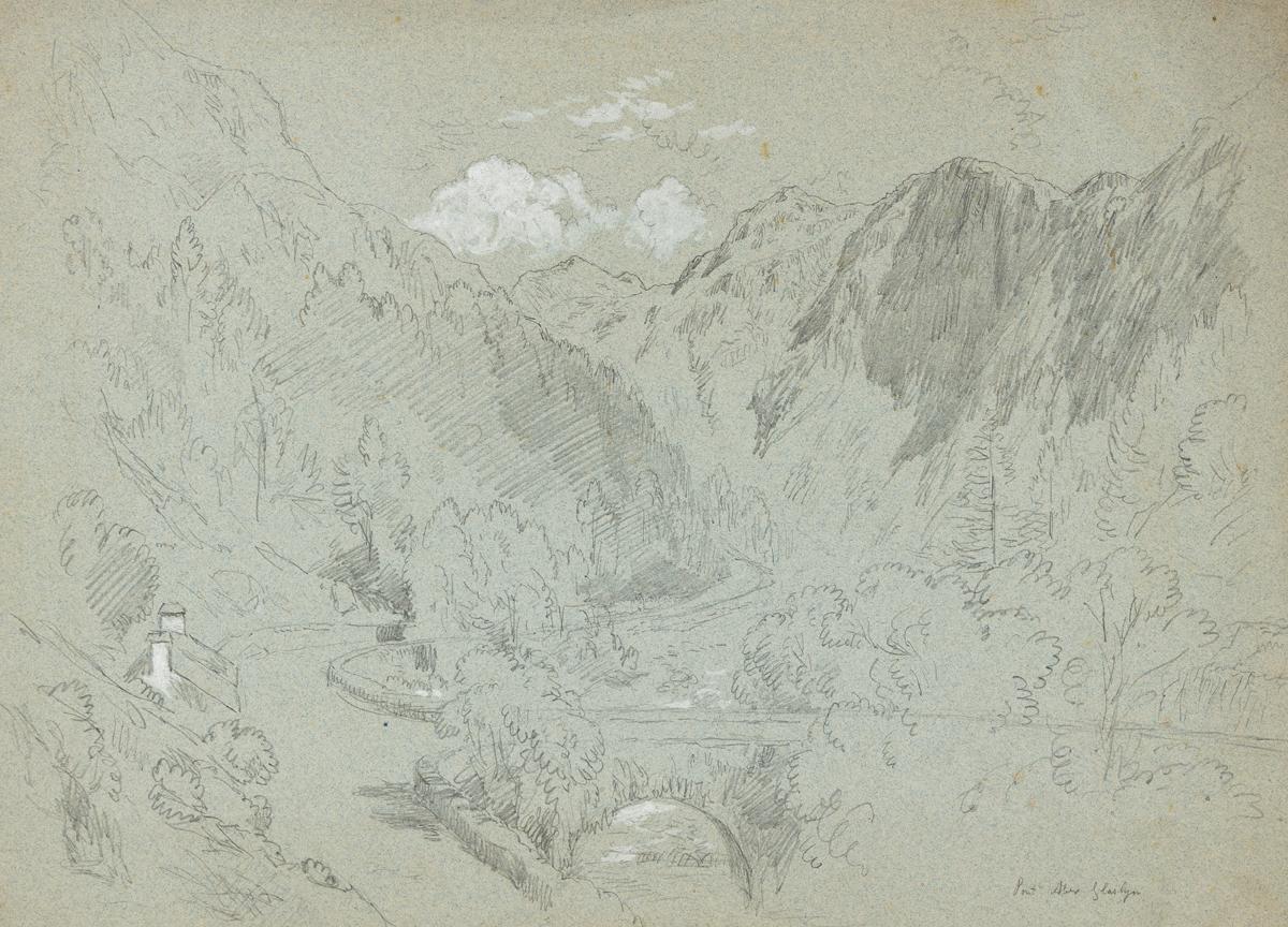 JOHN HENRY HILL Three pencil landscape drawings.
