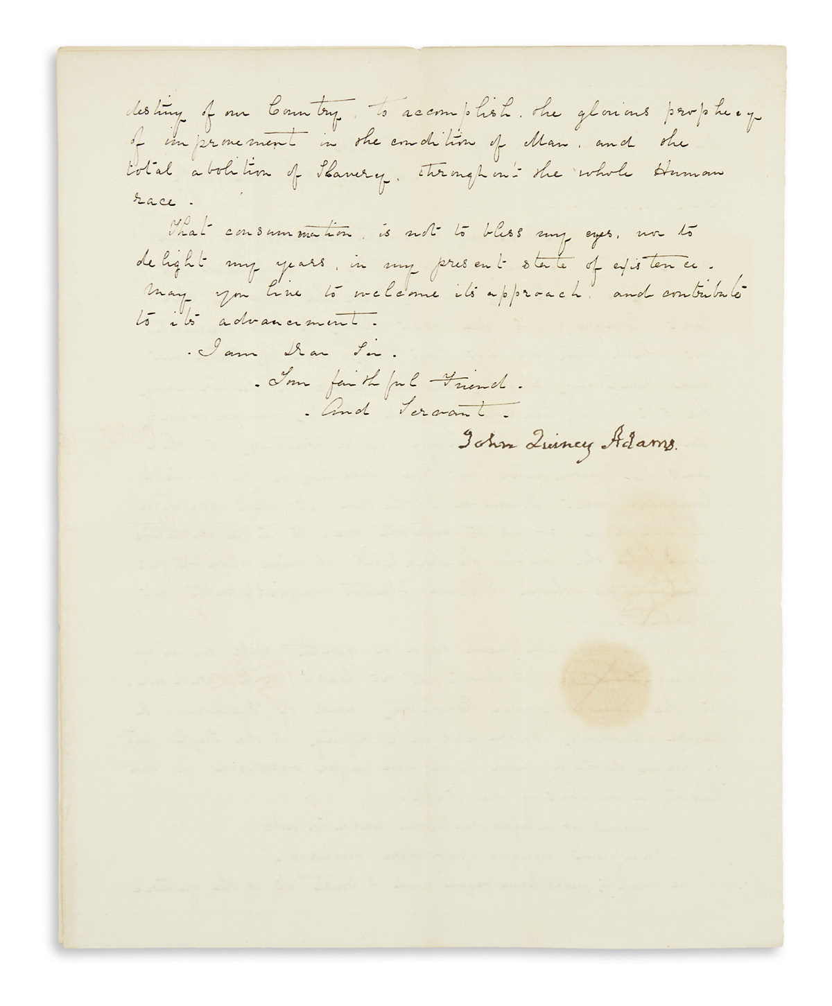 ADAMS, JOHN QUINCY. Letter Signed, to Representative Julius Rockwell,