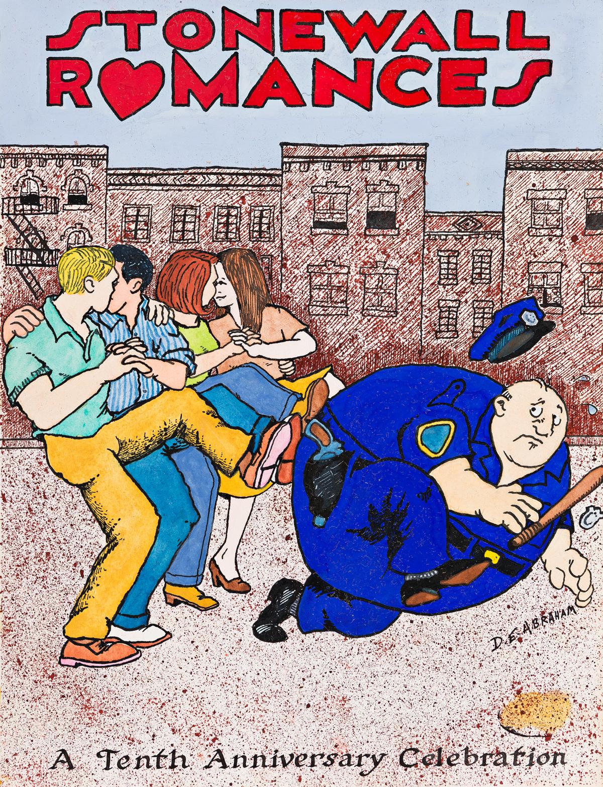 DANIEL-ABRAHAM-(1952--)--STONEWALL-UPRISING-Original-artwork