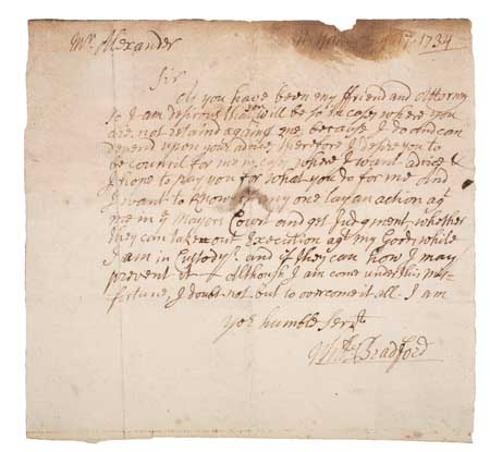 BRADFORD, WILLIAM (1663-1752). Autograph Letter Signed to Mr. [James] Alexander.
