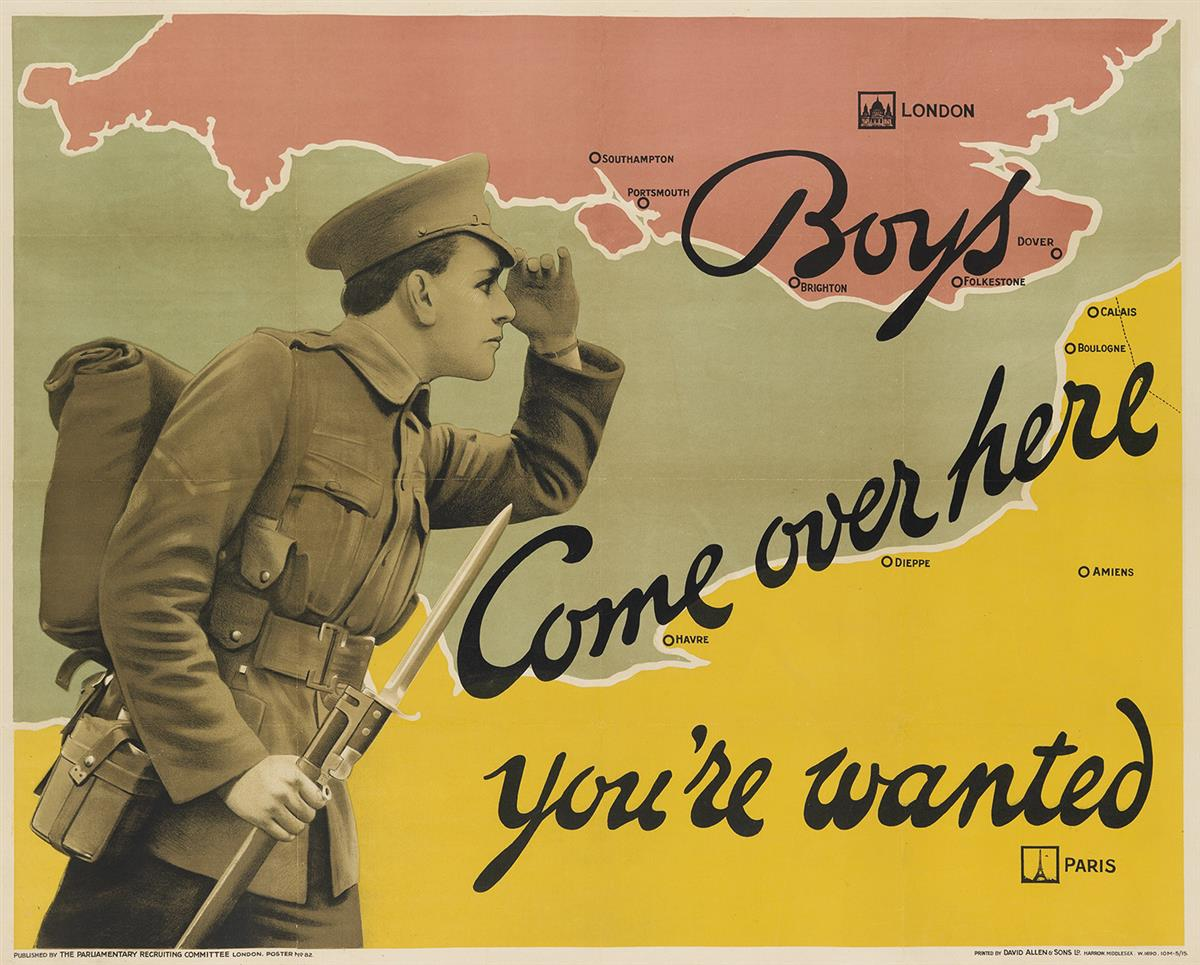 DESIGNER UNKNOWN. BOYS COME OVER HERE / YOURE WANTED. 1915. 40x50 inches, 102x127 cm. David Allen & Sons Ld., Harrow.