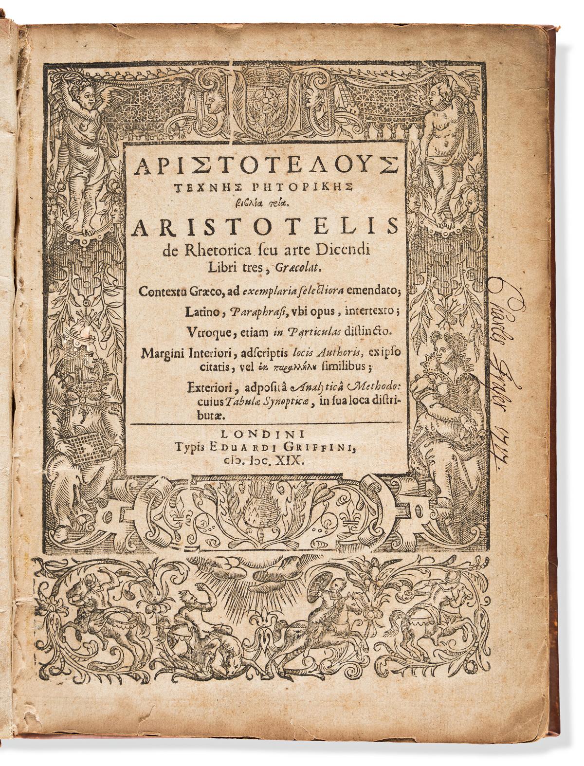 Aristotle (385-323 BC) Rhetorica seu Arte Dicendi Libri Tres, Graecolat.