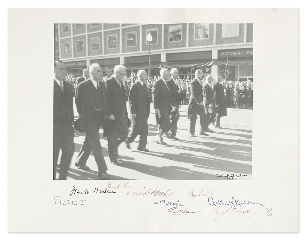 (KENNEDY, JOHN F.--SUPREME COURT.) Group Photograph Signed, by the 9 justices of the Warren Court,
