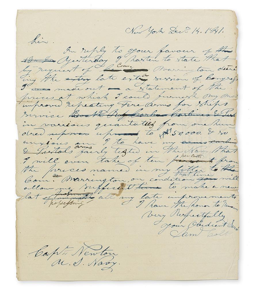 (INVENTORS.) SAMUEL COLT. Autograph Letter Signed, SamlColt, to U.S. Navy Captain Newton,