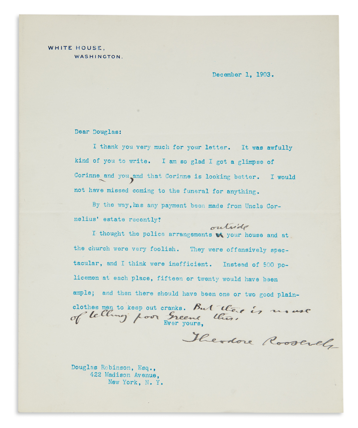 ROOSEVELT, THEODORE. Group of 5 Typed Letters Signed, as President, each to the family of his sister Corinne Roosevelt Robinson, some w