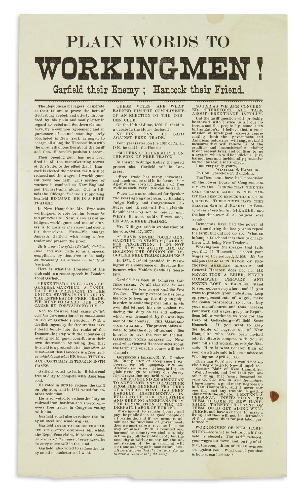 (PRESIDENTS--1880-CAMPAIGN)-Plain-Words-to-Workingmen-Garfie