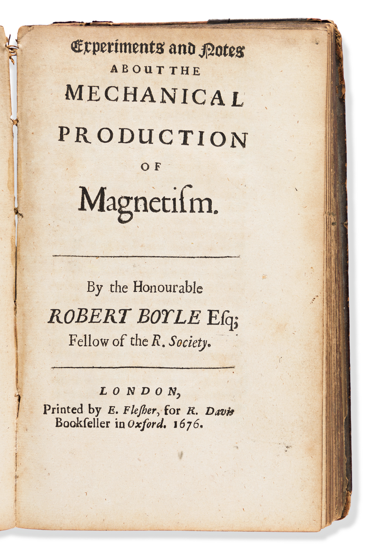 Boyle, Robert (1627-1691) Sammelband of Thirteen Tracts. Including I: Of the Mechanical Origine of Heat and Cold.