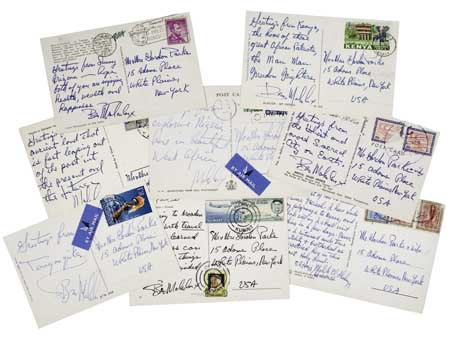 MALCOLM X. Group of 8 Signed postcards from Malcolm X.