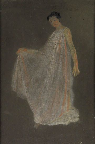 ARTHUR-B-DAVIES-Standing-Woman-in-a-Flowing-White-Robe