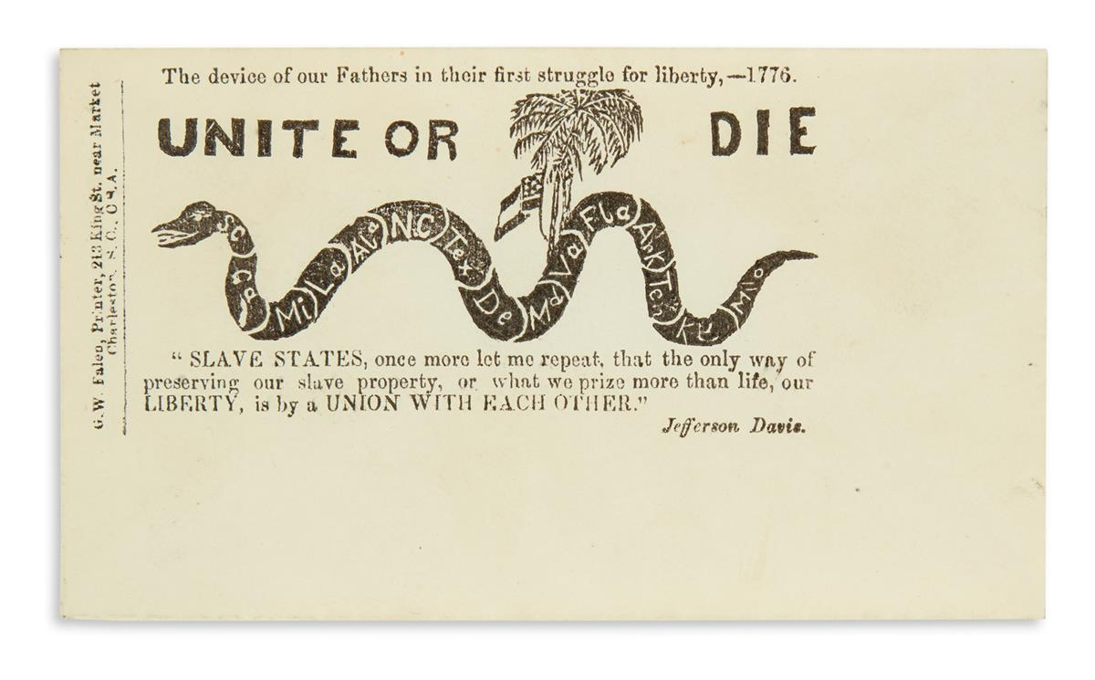 (SLAVERY AND ABOLITION.) The Device of our Fathers in their First Struggle for Liberty, 1776: Unite or Die.