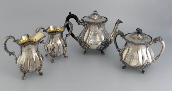 (CANADIAN PACIFIC LINE.) Empress of China (I). Presentation silver plate tea service by Wilcox of Meriden, CT,