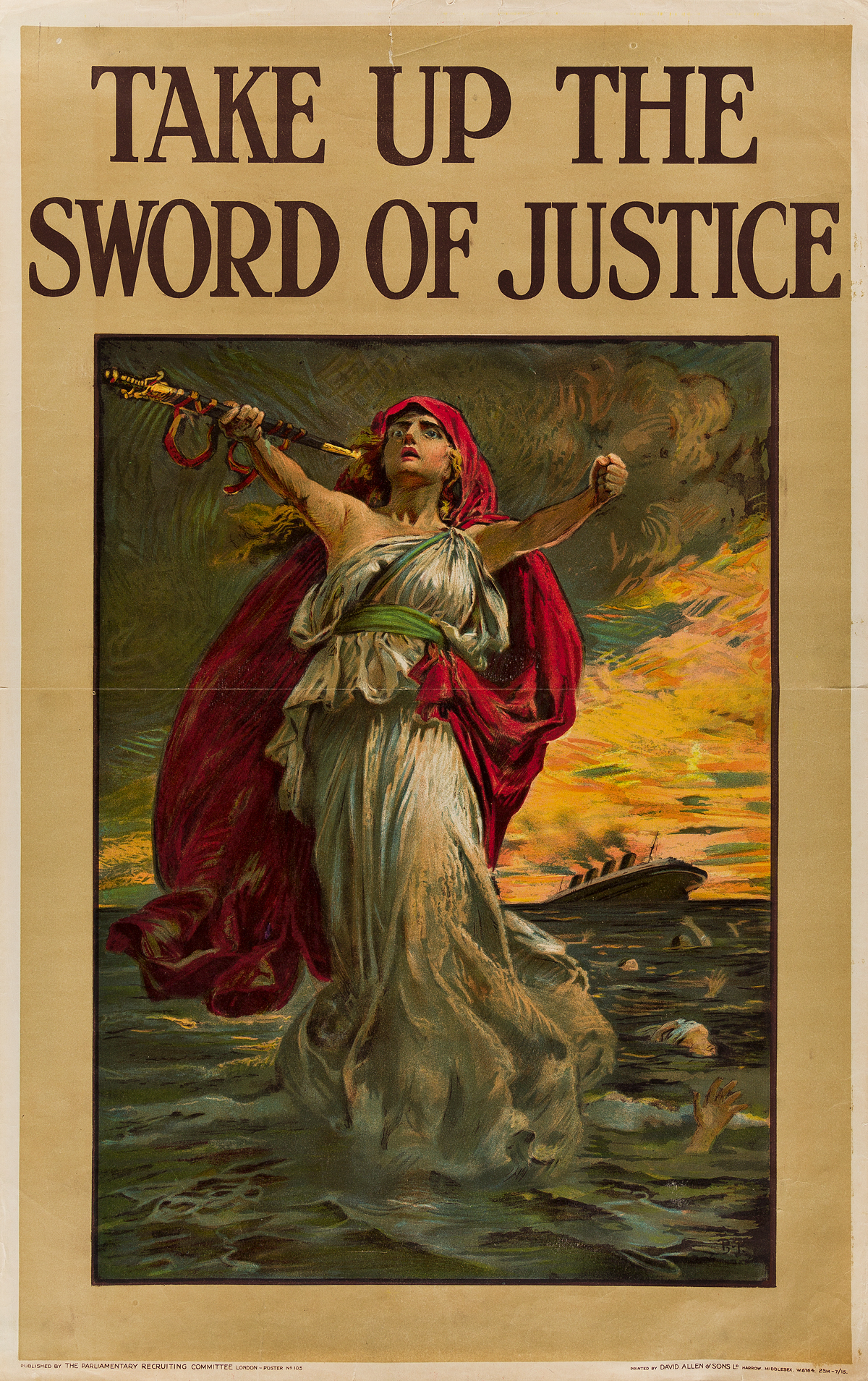 SIR-BERNARD-PARTRIDGE-(1861-1945)-TAKE-UP-THE-SWORD-OF-JUSTICE-Circa-1914-40x25-inches-101x63-cm-David-Allen--Sons-Ld-Harrow