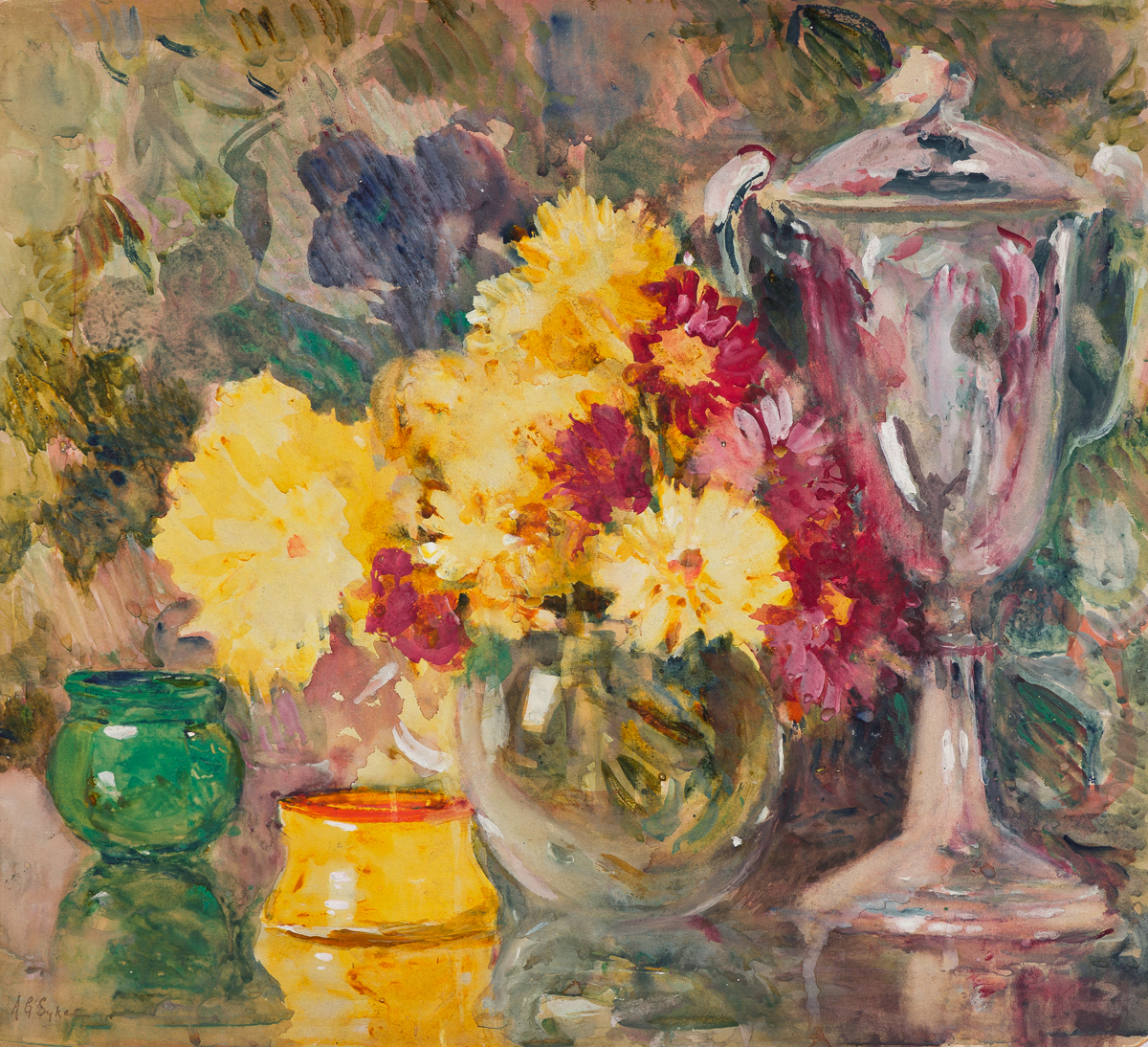 ANNIE GOODING SYKES Still Life with Chrysanthemums.