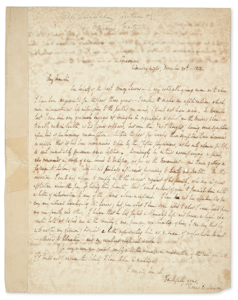 DE QUINCEY, THOMAS. Autograph Letter Signed, to poet Robert Southey,