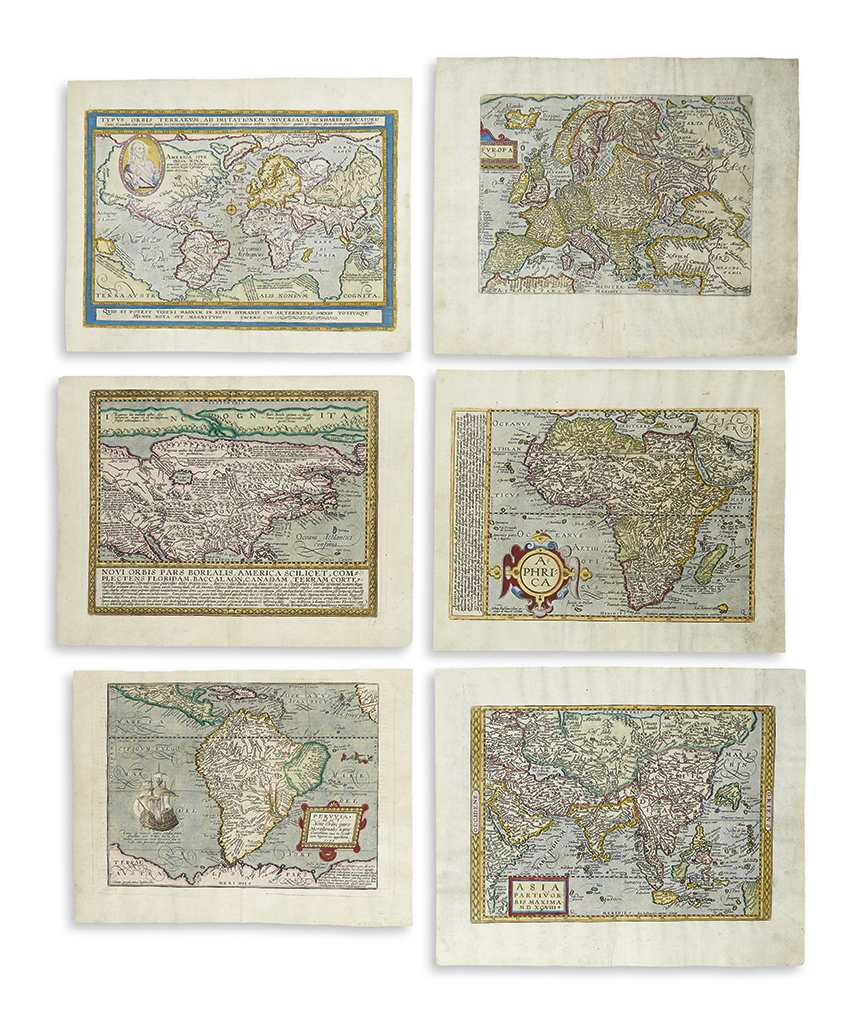 (WORLD AND CONTINENTS.) Quad, Matthias. Together six double-page engraved maps: