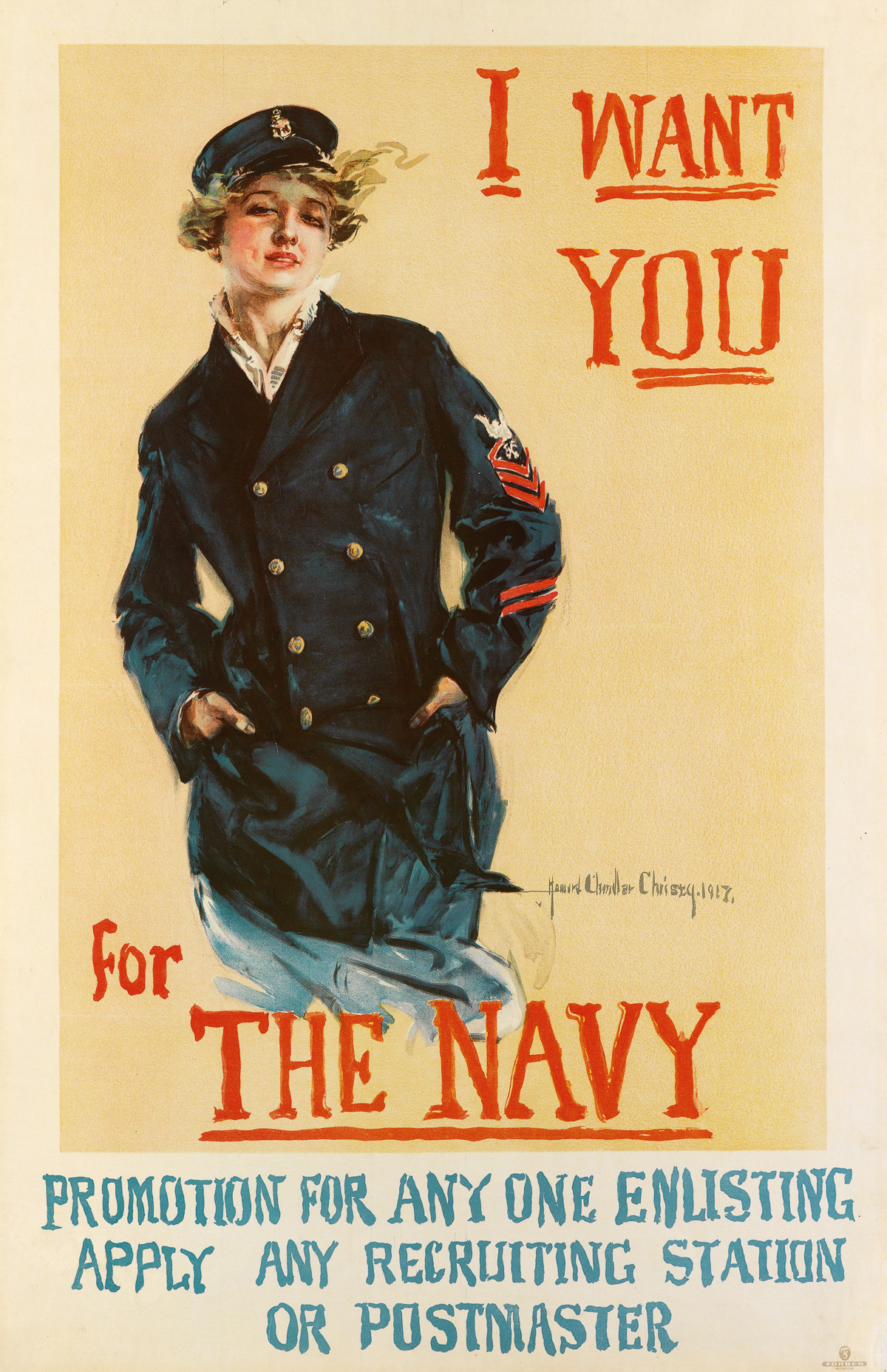 HOWARD-CHANDLER-CHRISTY-(1873-1952)-I-WANT-YOU-FOR-THE-NAVY-1917-40x26-inches-103x66-cm-Forbes-Boston