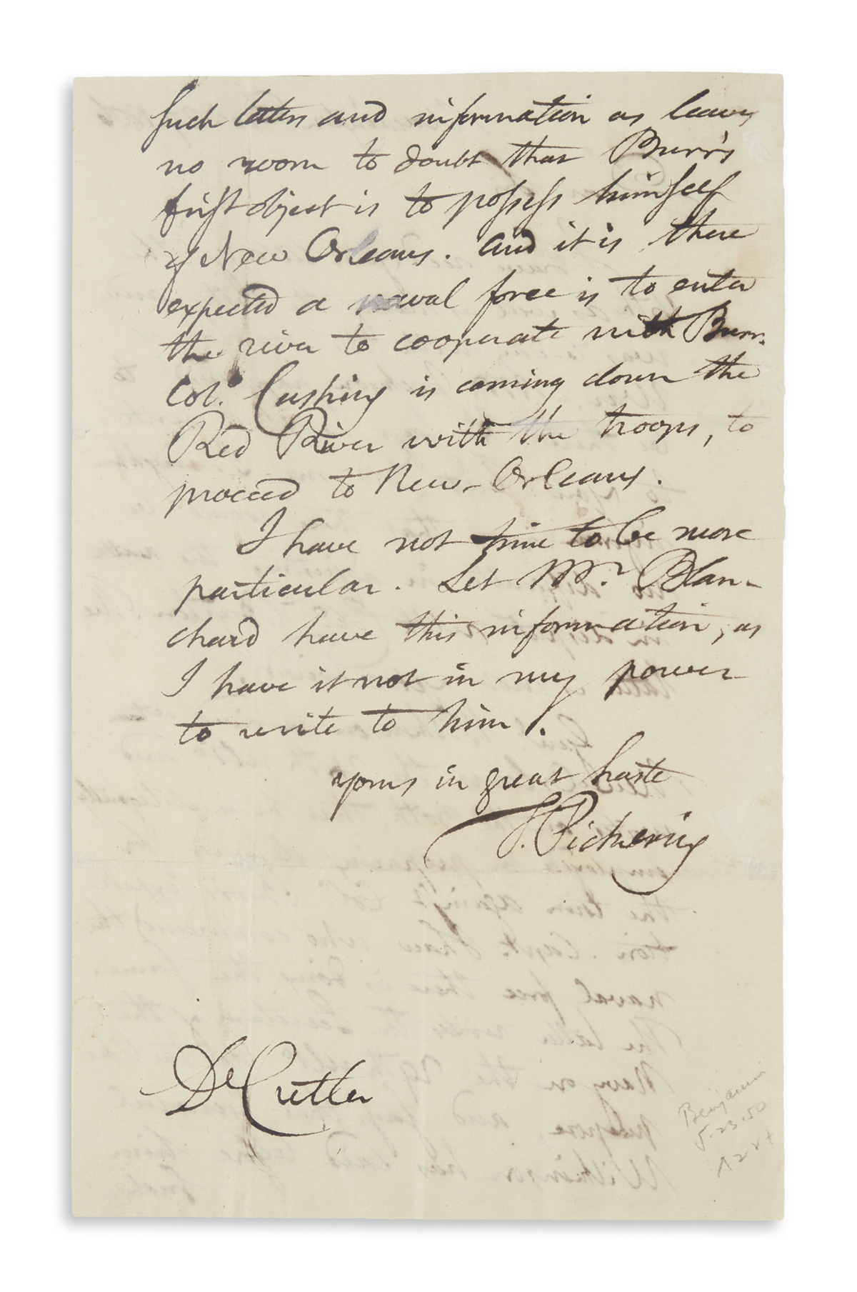 PICKERING, TIMOTHY. Autograph Letter Signed, T. Pickering, as Senator, to Dr Cutler,