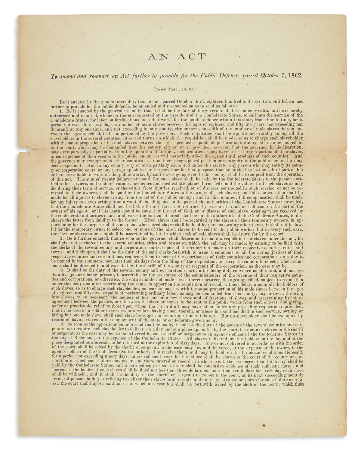 (SLAVERY AND ABOLITION.) Packet of printed Virginia circulars relating to the provision of slaves for the defense of the Confederacy.