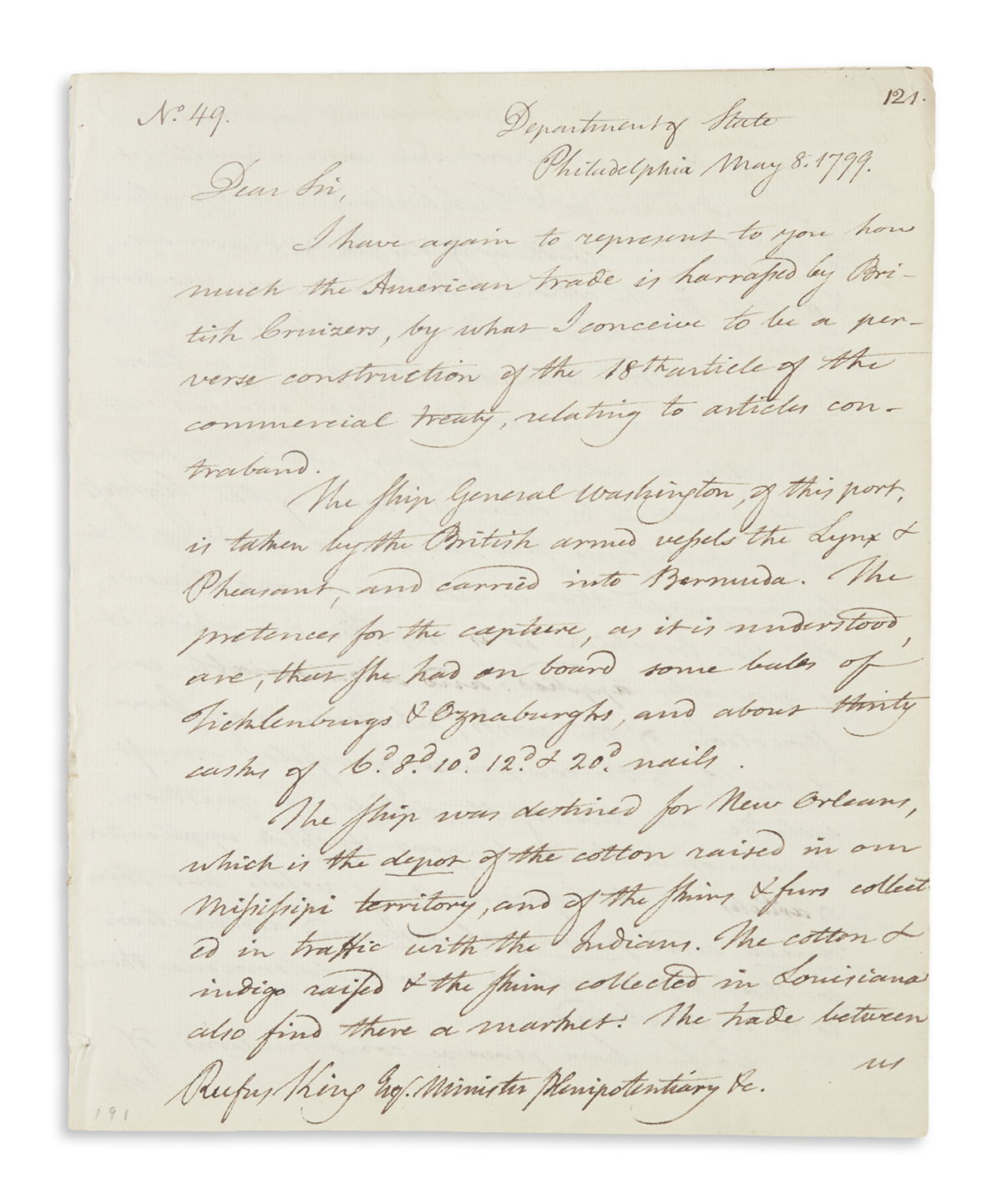 PICKERING, TIMOTHY. Autograph Letter Signed, as Secretary of State, to the U.S. Ambassador to Great Britain Rufus King,