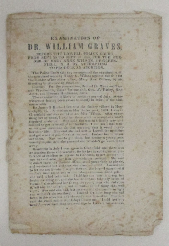 (CRIME.) Examination of Dr. William Graves . . . for the Murder of Mary Anne Wilson . . . by Attempting to Produce an Abortion.