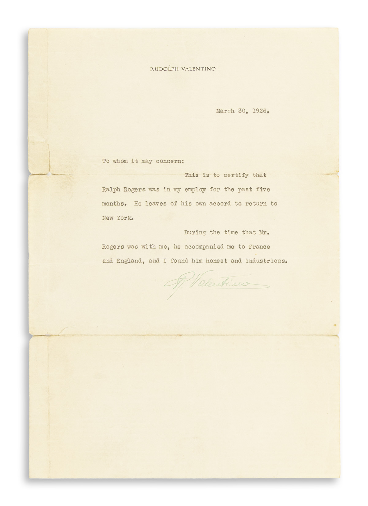 VALENTINO-RUDOLPH-Typed-Letter-Signed-R-Valentino-in-green-i