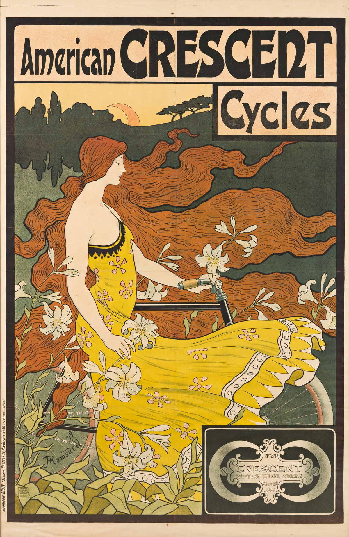 FREDERICK WINTHROP RAMSDELL (1865-1915).  AMERICAN CRESCENT CYCLES. 1899. 62½x41 inches, 158¾x104 cm. Chaix, Paris.