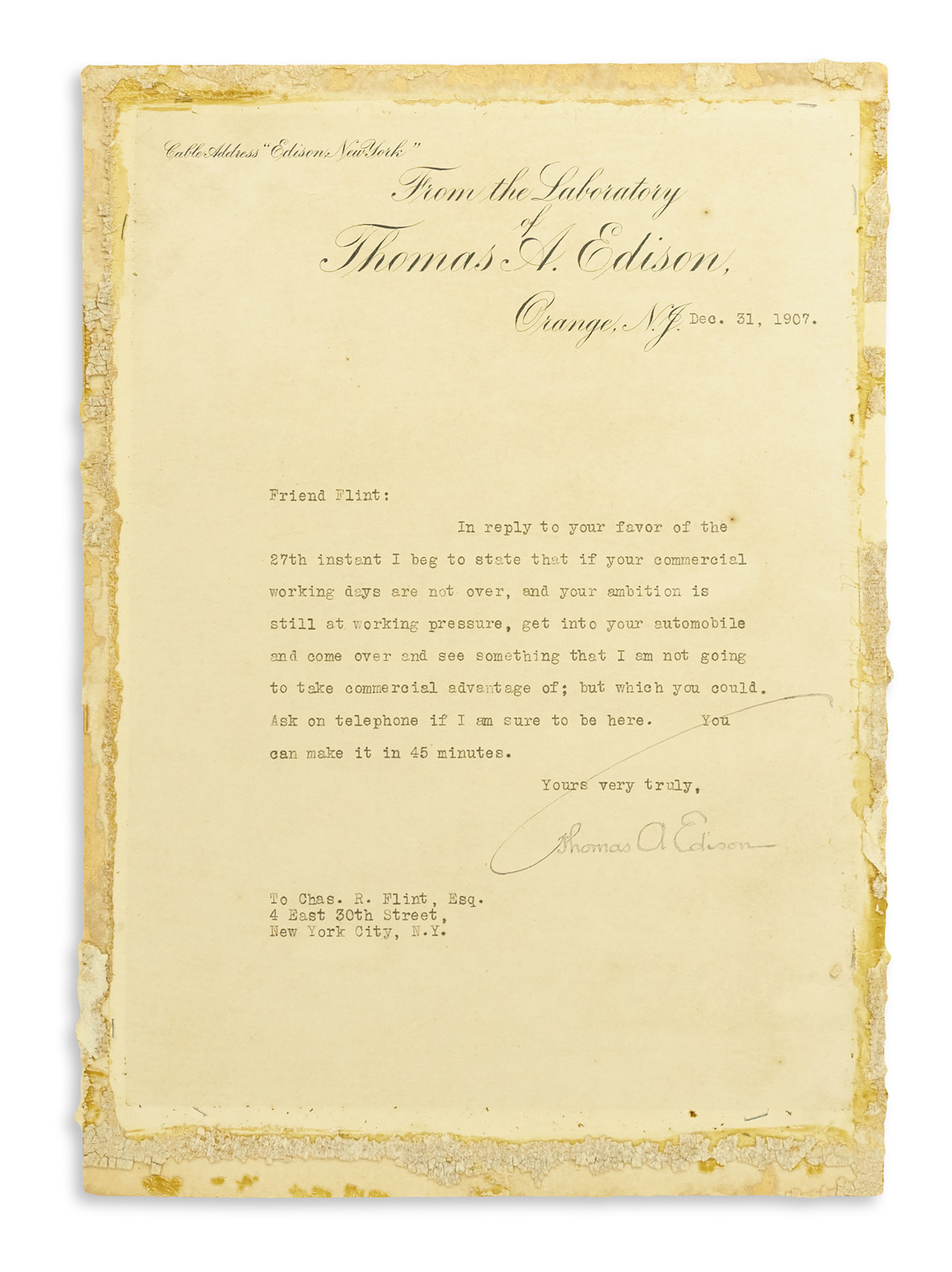 EDISON, THOMAS A. Typed Letter Signed, to IBM founder Charles R. Flint (Friend Flint),