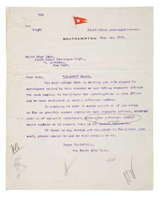 """(WHITE STAR LINE.) """"Titanic."""" Group of 9 file letters related to the disaster,"""